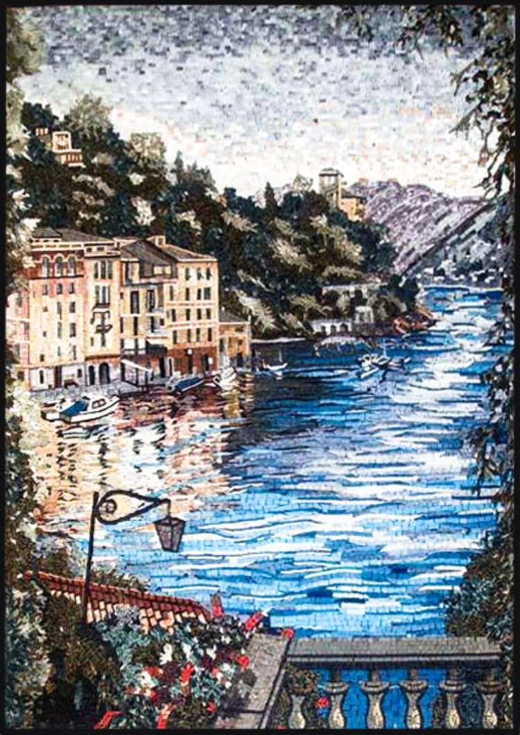 A dramatic mosaics artwork of a sea view by mosaics lab