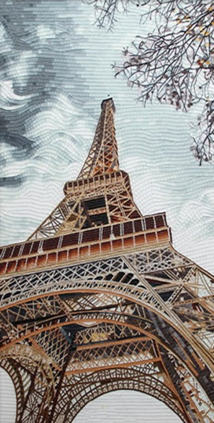 A stunning handmade mosaic design of Eiffel Tower by mosaics lab