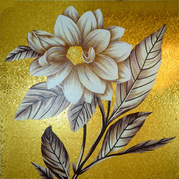Stunning gold Custom Mosaic Artwork of a flower — Copyright © Mosaics Lab
