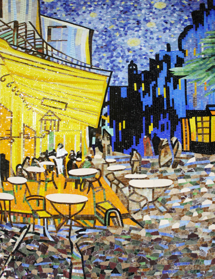 Van Gogh's classic café scene handcrafted as a mosaic artwork
