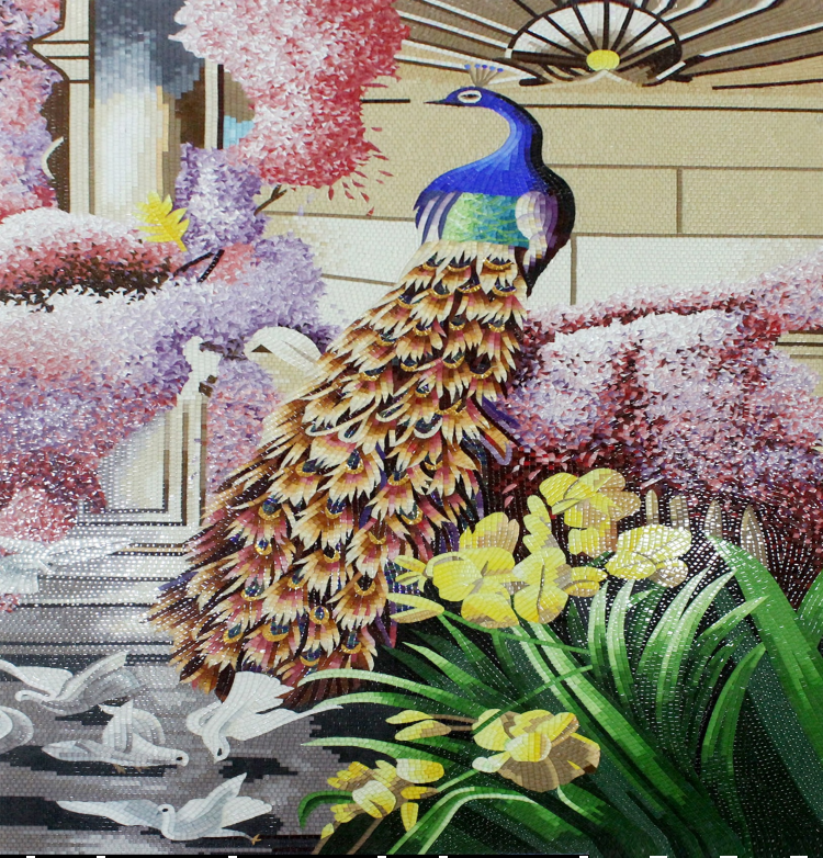 An exquisite mosaic artwork of a peacock.