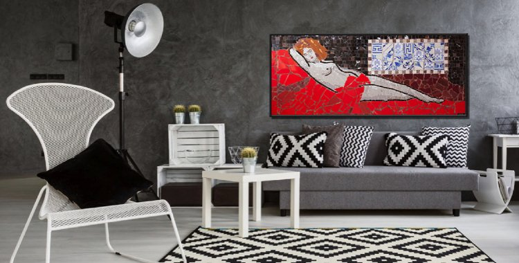A handmade mosaic portrait that adds flare to the space