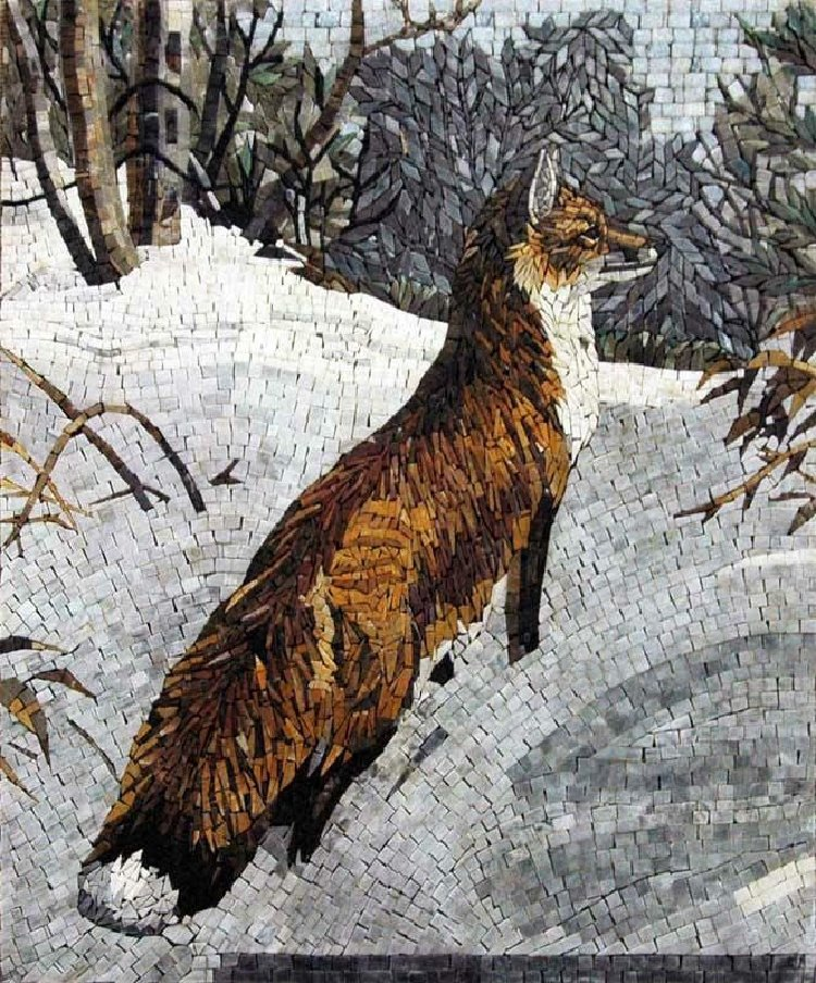 A beautiful mosaic artwork of a fox on snow