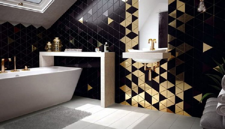 Black and gold elegant bathroom mosaic backsplash