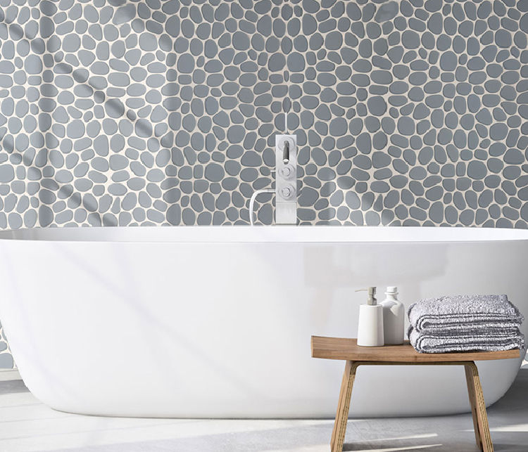 Pebble bathroom mosaic backsplash