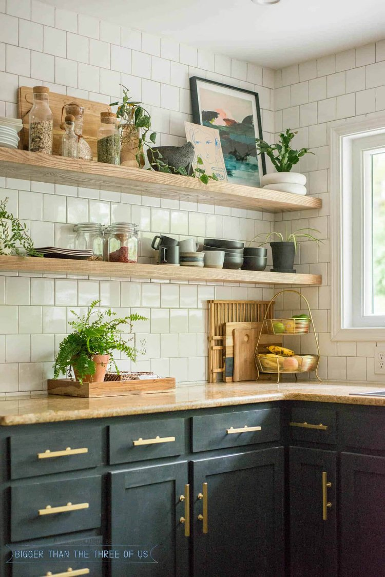 Open shelving kitchen with rustic look and feel