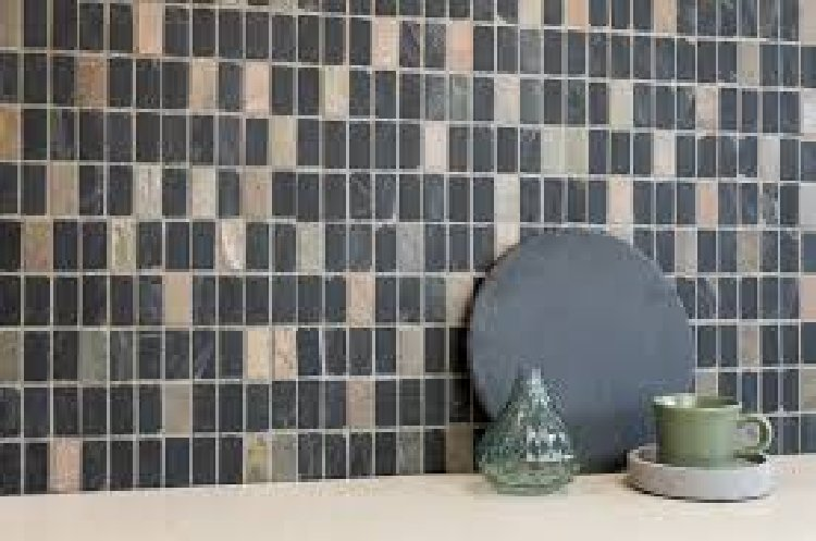 Contemporary kitchen mosaic backsplash