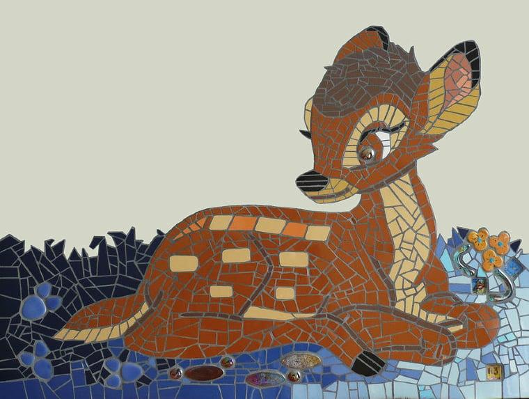 cute mosaic artwork of the Disney character Bambi