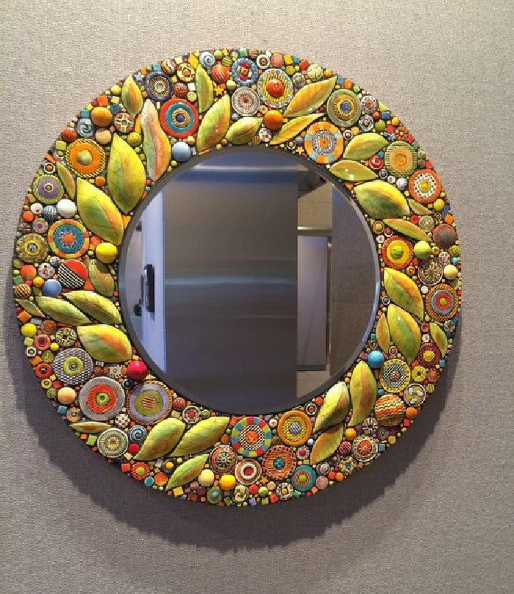 Beautiful yellow mirror mosaic.