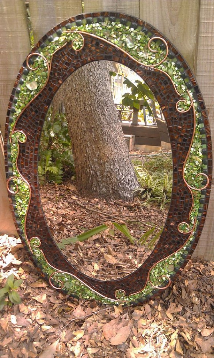 Stunning nature themed mosaic border makes a beautiful mirror.