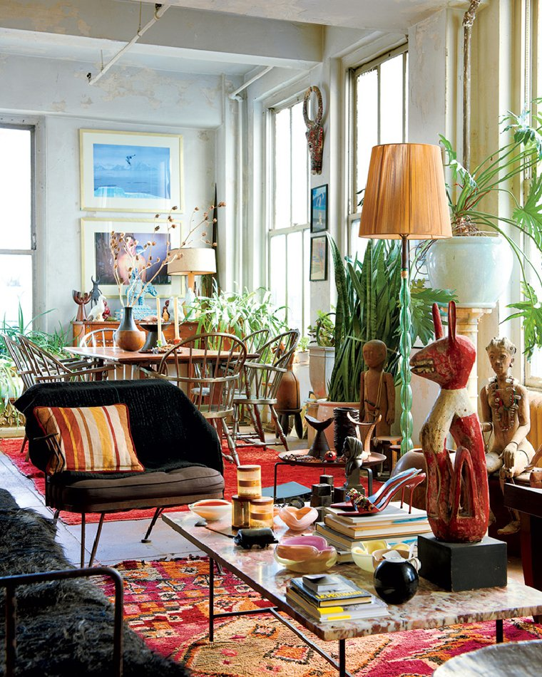 Sunny and colorful maximalist sitting area.