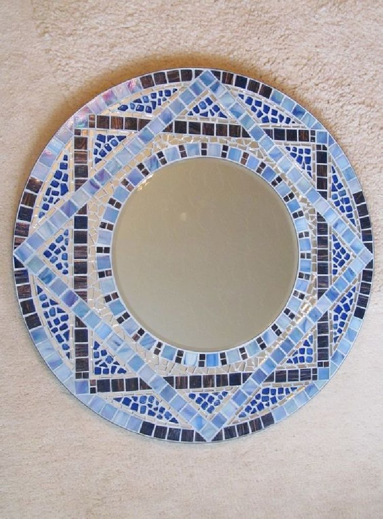 Geometric border mosaic artwork
