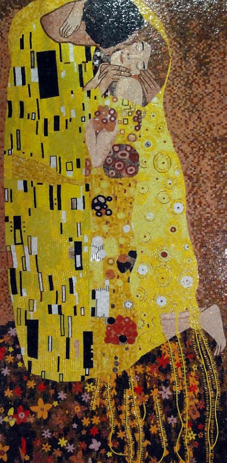 A stunning mosaic reproduction of Klimt's Kiss by Mosaics Lab