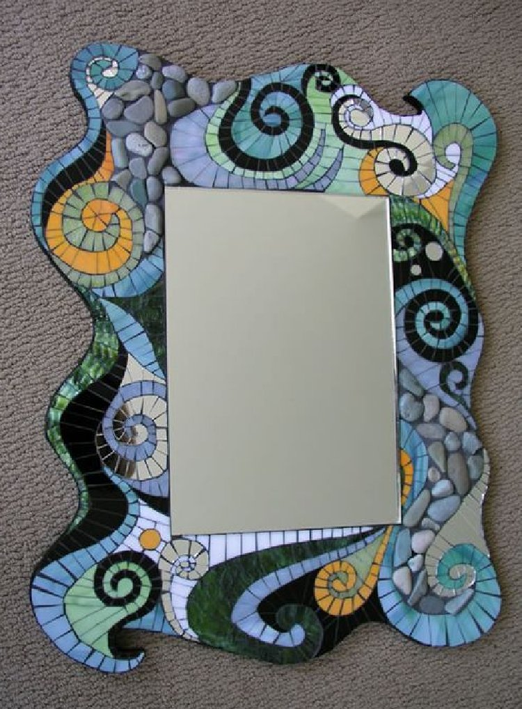 Stunning abstract motifs mosaic mirror