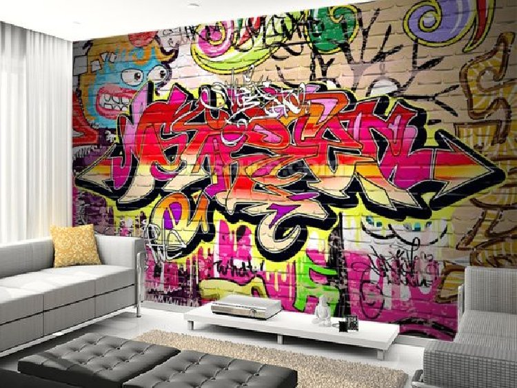 Beautiful Graffiti on a living room wall. | Mosaics Lab