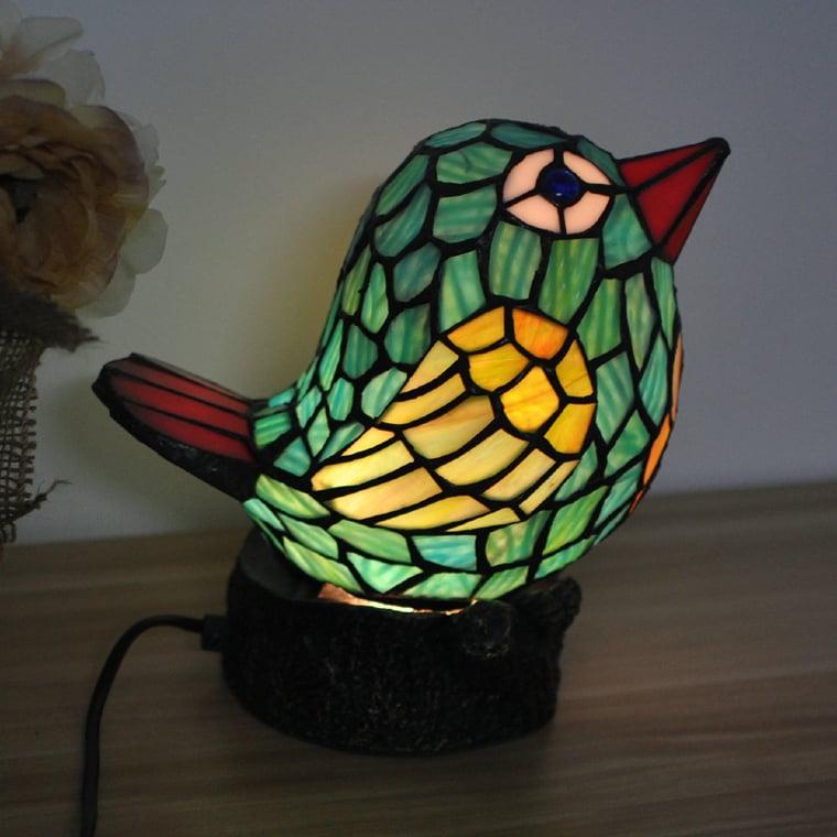 Cute glass mosaic bird with beautiful glowing effect.