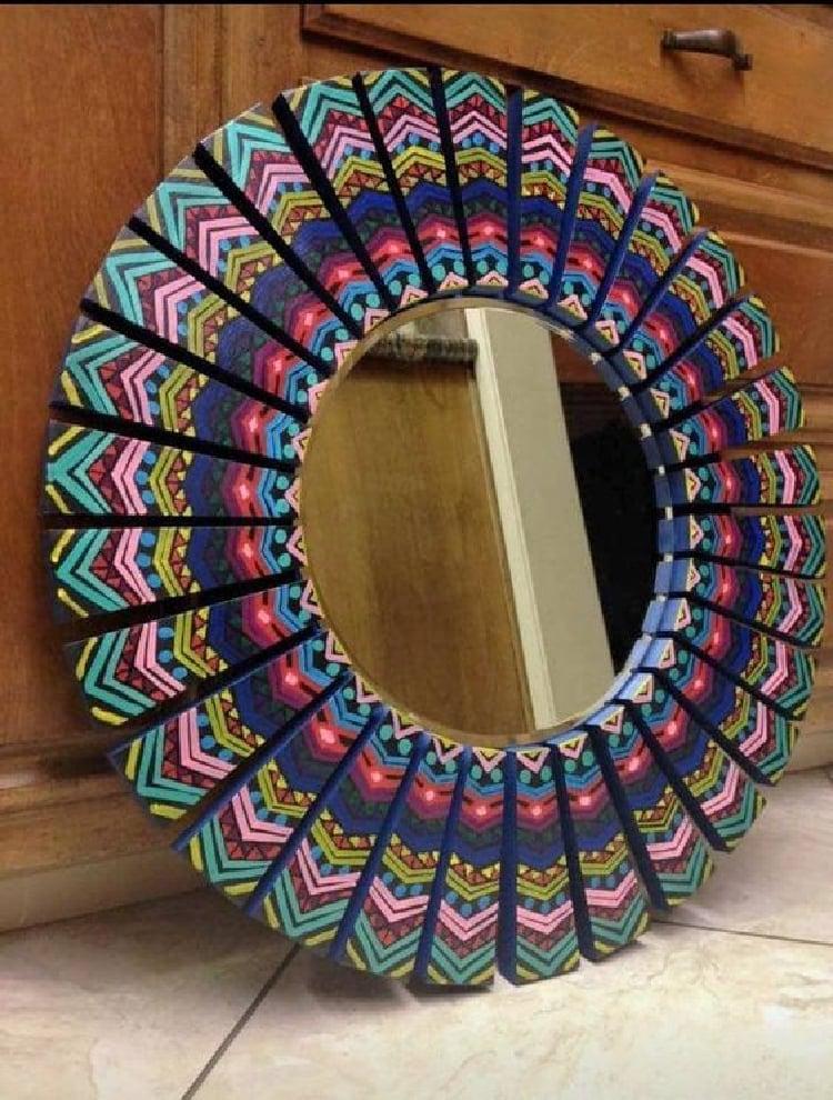 Mandala style border mirror mosaic.