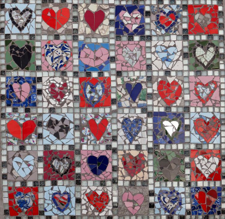 Heart symbol mosaic artwork by Mosaics lab.