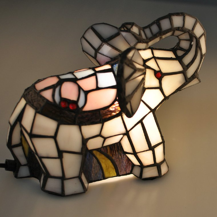 Gorgeous mosaic elephant lamp for kids' room