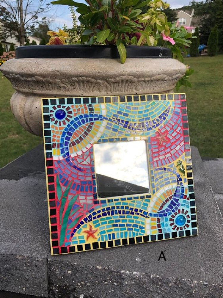 Glass mosaic mirror boarder