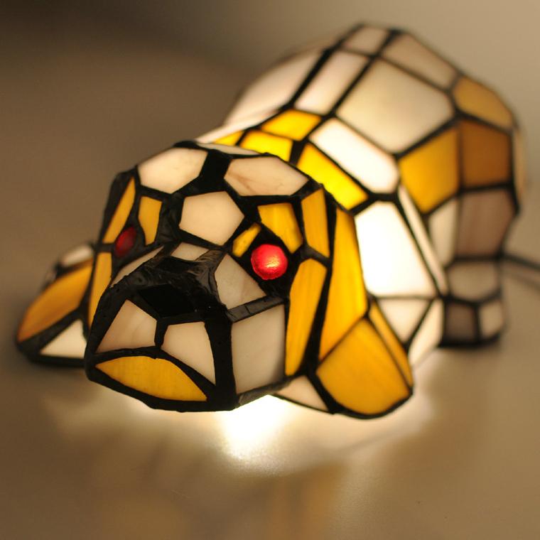 Beautiful mosaic lamp of a dog.