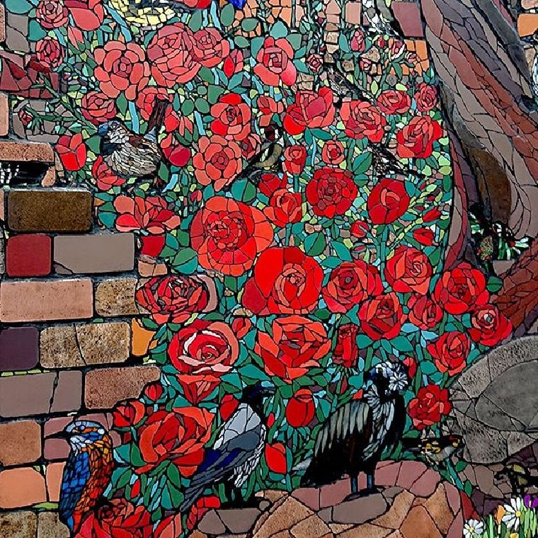 Beautiful mosaic roses by Isidora Paz Lopez.