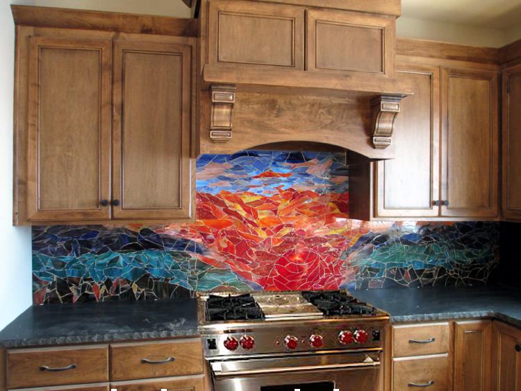 Outdoor inspired kitchen mosaic backsplash