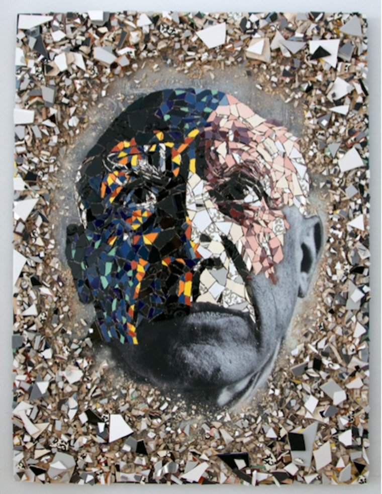 A contemporary mosaic portrait of Picasso by Jason Dussault.