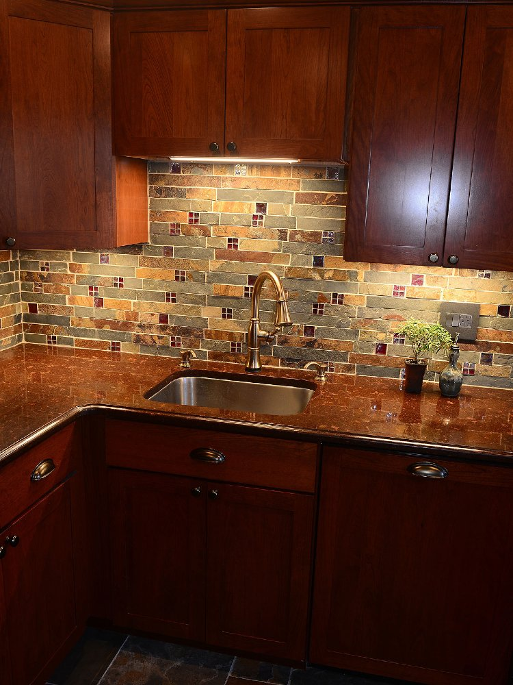 Beautiful nature inspired kitchen mosaic backsplash