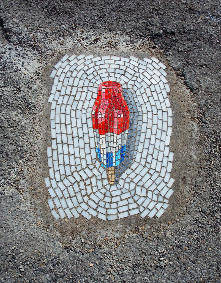 A beautiful and playful mosaic artwork by Jim Bachor.