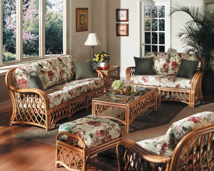 Rattan furnishings with floral patterns.