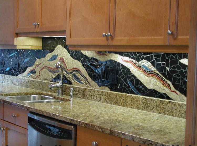 Stunning Kitchen backsplash mosaic inspired by landscape.