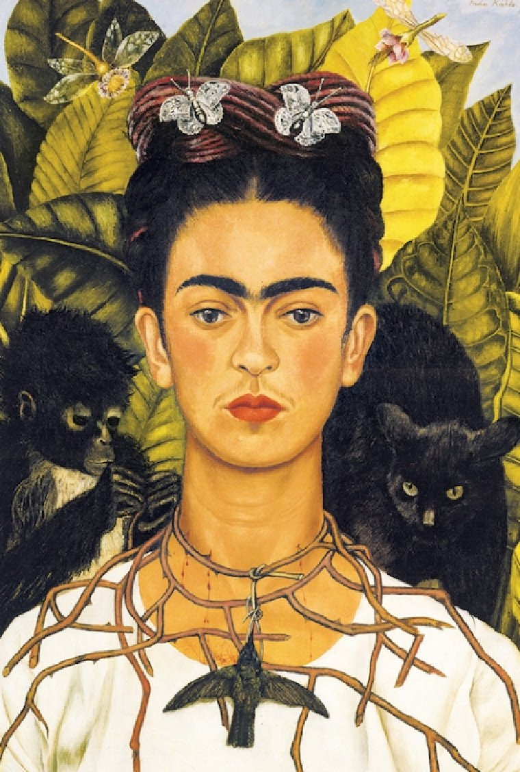 Frida's self-portrait with a monkey and a cat.