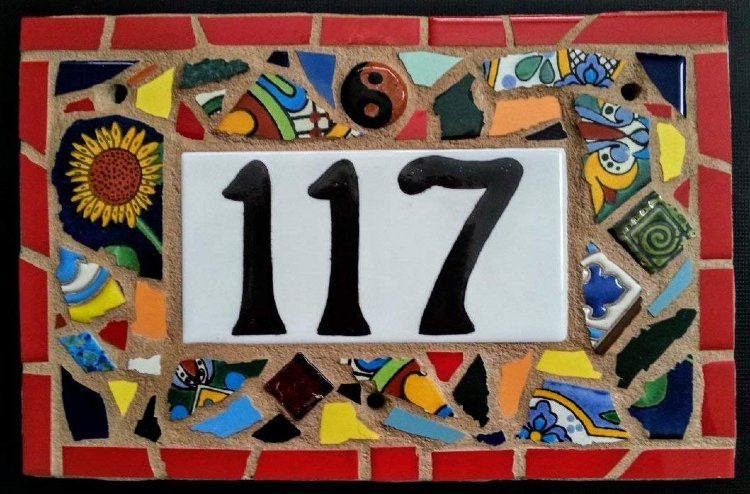 Colorful house number mosaic DIY