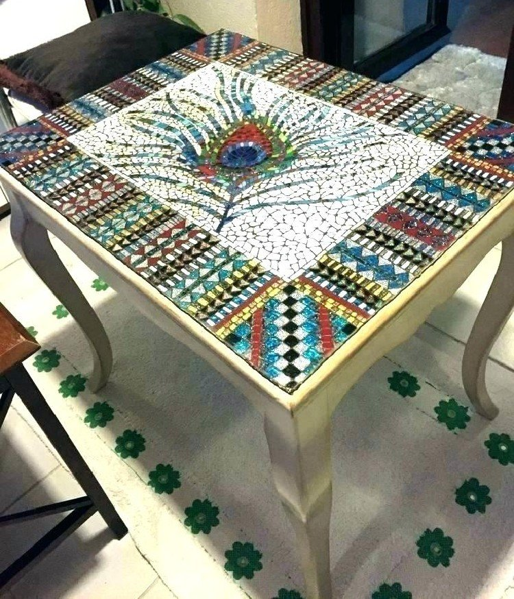 Mosaic DIY table with gorgeous plum design.