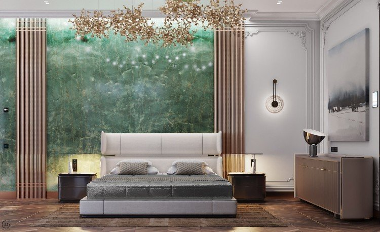 Green natural marble is ideal for bedrooms.