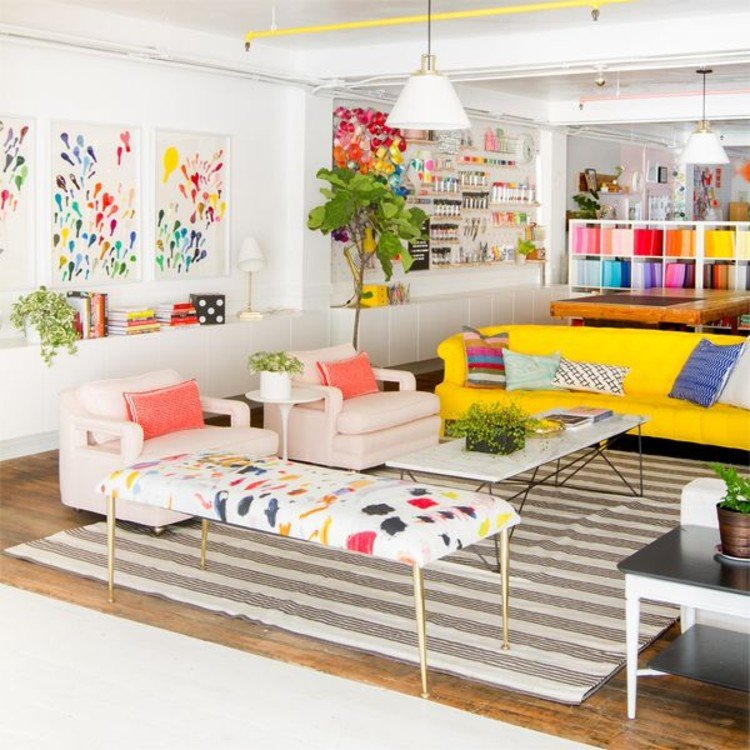 Maximal and vibrant living room.