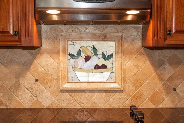 simple and fruit themed kitchen mosaic backsplash