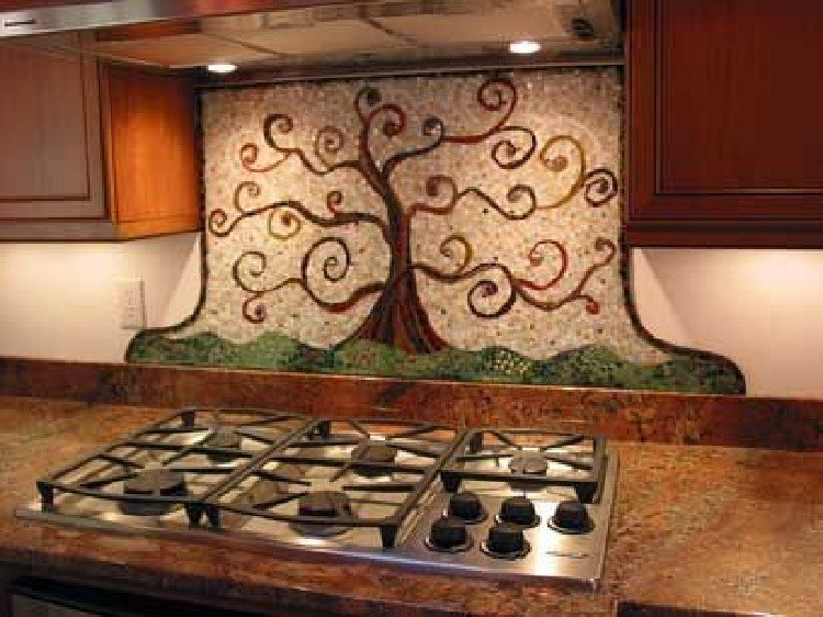 Stunning and funky tree themed kitchen mosaic backsplash.