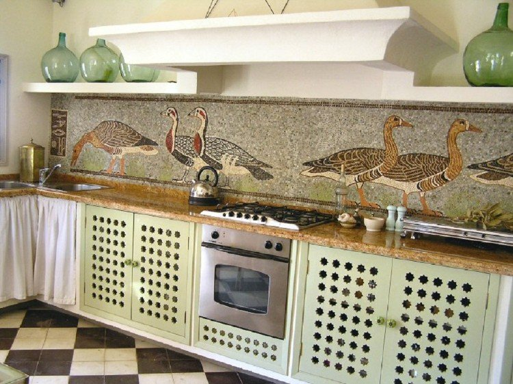 Rural themed kitchen mosaic backsplash.