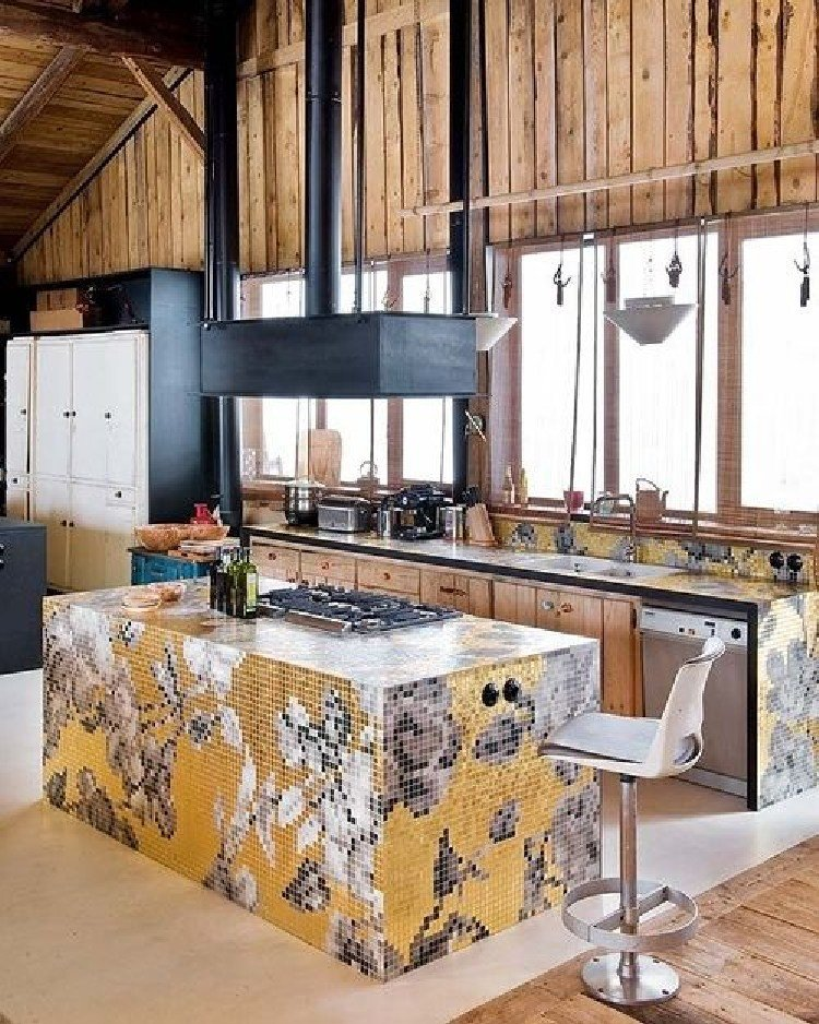 Contemporary kitchen island that is vibrant.