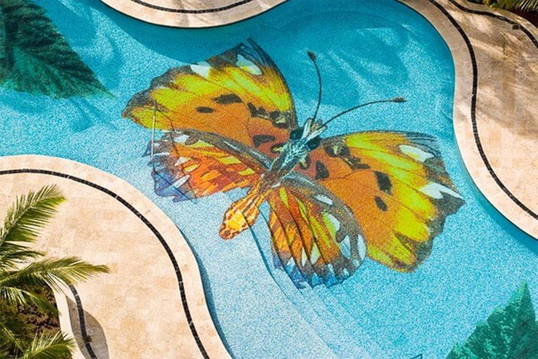 Gorgeous pool mosaic butterfly artwork.
