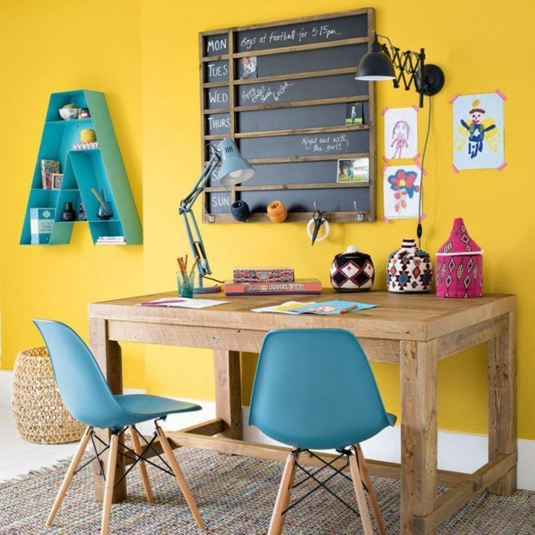 Colorful home office design that helps your creative juices flow.