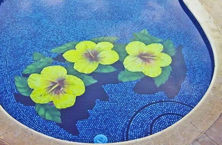 Amazing floral pool mosaic artwork and design