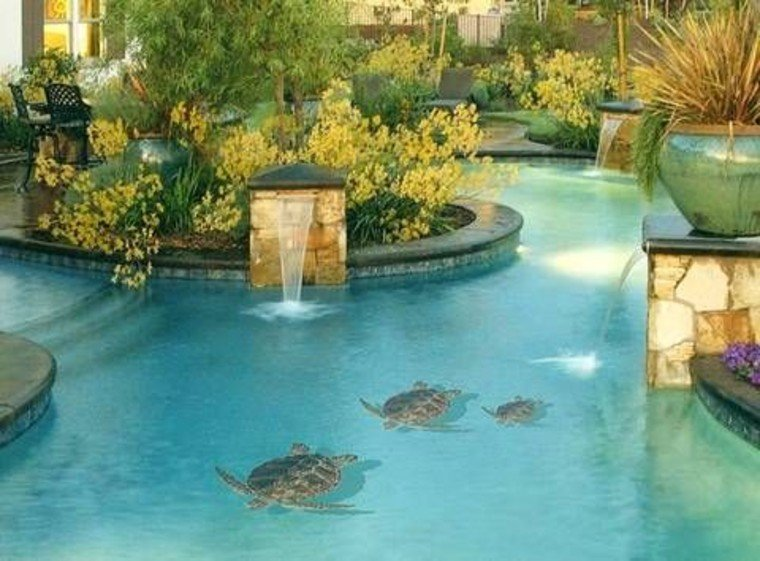 Ceramic mosaic artwork of water turtles for pools