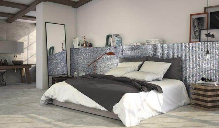 Stunning bedroom mosaic artwork makes a perfect centerpiece.