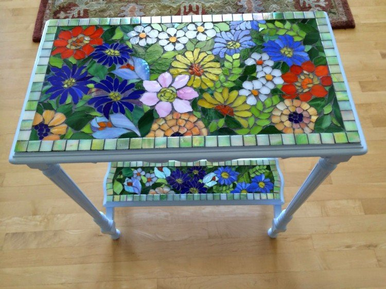 Colorful and creative mosaic desk.
