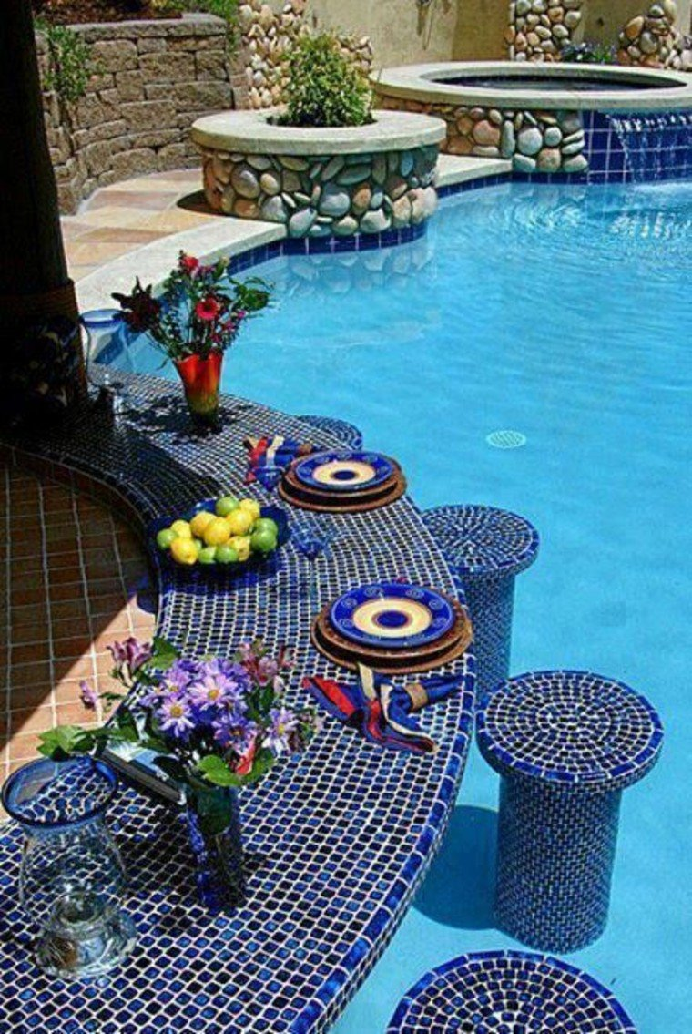 gorgeous swimming pool bar mosaic art