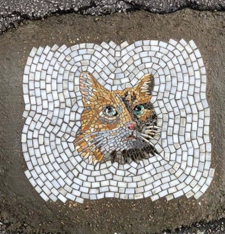 Cat mosaic artwork by Jim Bachor.