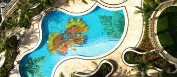 Handmade pool mosaic artwork